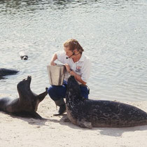 Manchmal stellt allein die - mehrmals tägliche  - Futtergabe ein Bereicherung des Zoo-Daseins dar, insbesondere, wenn dies noch mit der Ausführung von kleinen Dressuraufgaben verbunden wird. (Zoo Harderwjik, NL)