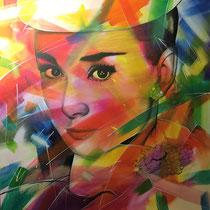 Andrey Hepburn - 100 cm x 100 cm , Acryl , Tusche