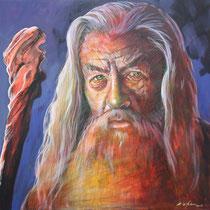 Gandalf - 100 cm x 100 cm , Acryl , Tusche , Stift