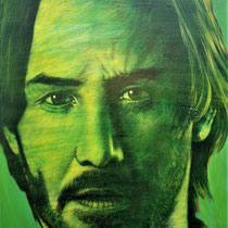 Keanu Reeves - 90 cm x 73 cm , Acryl, Tusche, Pastell