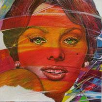 Sophia Loren - 76 cm x 60 cm Acryl, Tusche