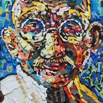 Gandhi - 60 cm x 38 cm , Klebetechnik