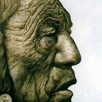 Häuptling - 150 cm x 100 cm , Öl