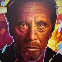 Al Pacino -85 cm x 73 cm , Acryl, Tusche, Pastell