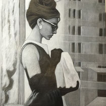 Audrey Hepburn - 120 cm x 75 cm , Acryl , Tusche , Pastell