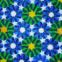 Foto's van de mozaiekontwerpen en de mozaiekanalyses door leerlingen