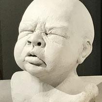 Säuglingskopf, Ton 16 x 12,5