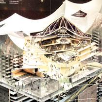 Das Modell mit Blick in den Konzertsaal