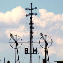 Das Semaphor zeigt die Wetterbedingungen auf Helgoland und Borkum