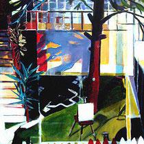 """""""Sesión en el jardín fauve"""" acrílico/tela 146x114 cm año 2006"""