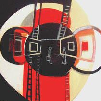 """""""Visita al galerista del pintor nº3450"""" 60x60cm. 2008"""