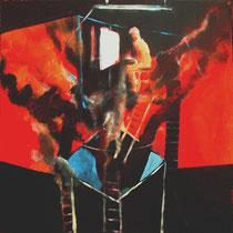 """""""Pintor incendiando su estudio"""". 60x60cm. 2008"""