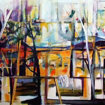 """""""Paisajes transitando el estudio"""". 146x114cm. 2006"""