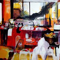 """""""Pintando en la cocina"""", 146x114 cm.2008"""