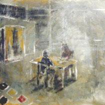Visita al estudio de Pere S. 65x54cm. mixta s.tela 2006