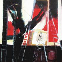 """El pintor I.Klein, columpiándose"". 60x60cm"