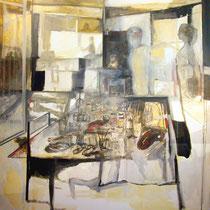 """Estudio con alumna"""", 185x185cm. téc. mixta sobre tela, 2006"""