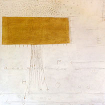 The BHT - Hope, 2010, acrylic, marble, resin, gold on canvas, 140 x 140 cm