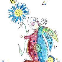 Funny Art, Hase 2, Aquarell von Ursula Konder, UKo-Art