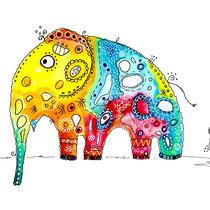 Funny Art, Herz, Aquarell von Ursula Konder, UKo-Art, Elefant Gisela