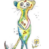 Funny Art, Erdmännchen, Aquarell von Ursula Konder, UKo-Art