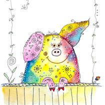 Funny Art, das lustige Schweinchen, Aquarell von Ursula Konder, UKo-Art