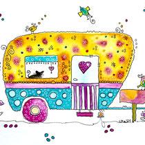 Funny Art, happy Camper, Aquarell von Ursula Konder, UKo-Art