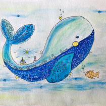 Funny Art, Herz, Aquarell von Ursula Konder, UKo-Art, Blau-Wal