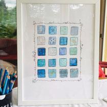 Funny Art, Herz, Aquarell von Ursula Konder, UKo-Art, blaue Kästchen