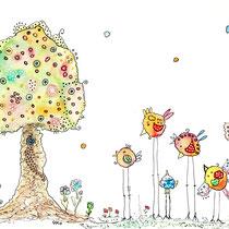 Funny Art, kleine Vögelten, Aquarell von Ursula Konder, UKo-Art