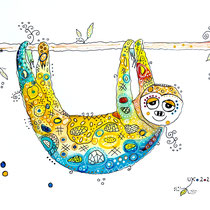 Funny Art, Faultier, Aquarell von Ursula Konder, UKo-Art