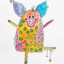 Funny Art, Herz, Aquarell von Ursula Konder, UKo-Art, Schweinchen mit Krone