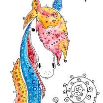 Funny Art, Herz, Aquarell von Ursula Konder, UKo-Art, Pferd Orange-Blue