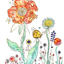 Funny Art, Blumen, Aquarell von Ursula Konder, UKo-Art