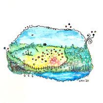 Funny Art, Landschaft, Aquarell von Ursula Konder, UKo-Art