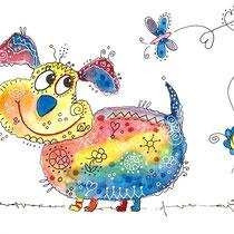 Funny Art, Hund mit Schmetterling 2, Aquarell von Ursula Konder, UKo-Art
