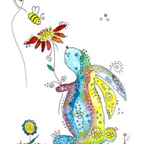 Funny Art, Hase 1, Aquarell von Ursula Konder, UKo-Art