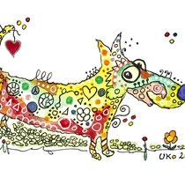 Funny Art, Hund, Aquarell von Ursula Konder, UKo-Art
