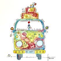 Funny Art, Bus 2, Aquarell von Ursula Konder, UKo-Art