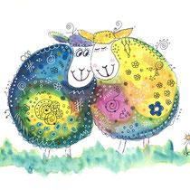 Funny Art, verliebte Schafe, Aquarell von Ursula Konder, UKo-Art