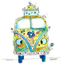 Funny Art, Hippie-Bus, Aquarell von Ursula Konder, UKo-Art