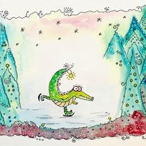 Funny Art, Herz, Aquarell von Ursula Konder, UKo-Art, Krokodil mit Schlittschuhen