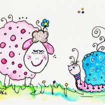 Funny Art, Herz, Aquarell von Ursula Konder, UKo-Art, Schnecke und Schaf