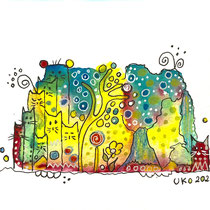 Funny Art, Stadt der Katzen, Aquarell von Ursula Konder, UKo-Art