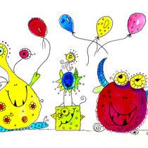 Funny Art, Monster-Party, Aquarell von Ursula Konder, UKo-Art