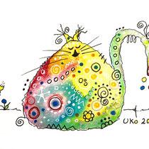 Funny Art, dicke Katze, Aquarell von Ursula Konder, UKo-Art