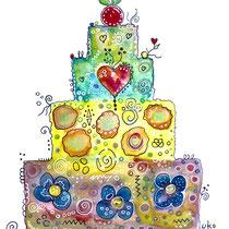 Funny Art, Torte, Aquarell von Ursula Konder, UKo-Art