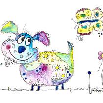 Funny Art, Hund mit Schmetterling 1, Aquarell von Ursula Konder, UKo-Art