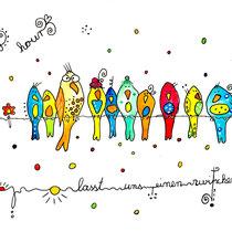 Funny Art, Herz, Aquarell von Ursula Konder, UKo-Art, bunte Vögel