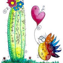 Funny Art, verliebter Igel, Aquarell von Ursula Konder, UKo-Art